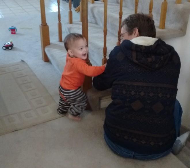 This little boy loves his grandpa!